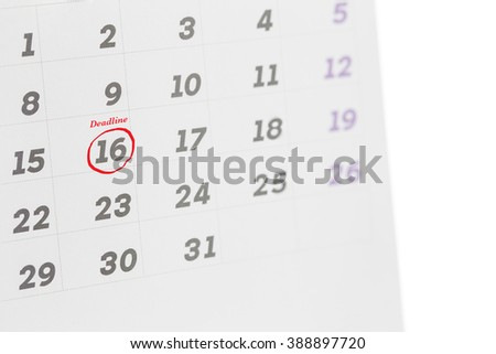 Deadline word written on the calendar, business concept