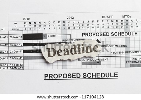 Deadlines and submission abstract with graph and fabrication schedule - stock photo