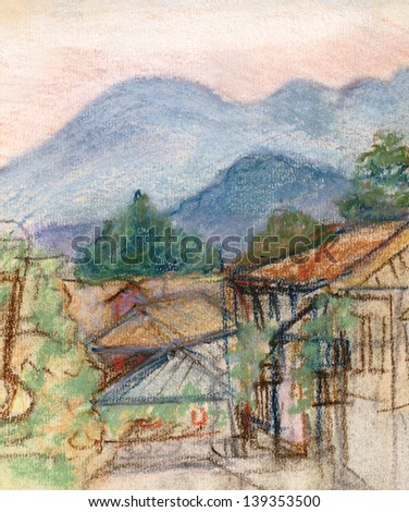 Deadlock on suburb Batumi near to high mountains - stock photo