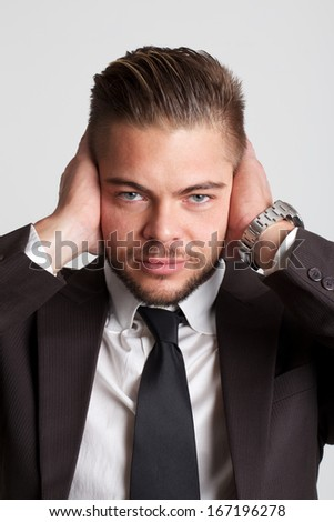 deaf businessman portrait - stock photo
