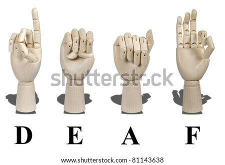 Deaf spelled out in American Sign language which is expressed with visible hand gestures for communication of the deaf - stock photo