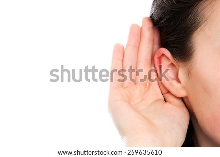 Deaf woman - stock photo