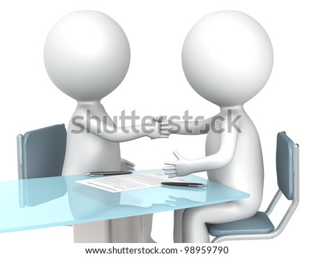 Deal. 3D little human characters X2 making a deal. Business People series. - stock photo