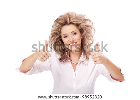 Deal / Happy woman with thumbs up - stock photo