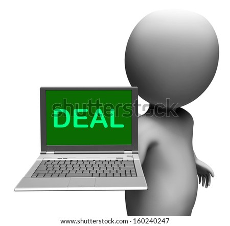 Deal Laptop Showing Agreement Contract Or Dealing Online