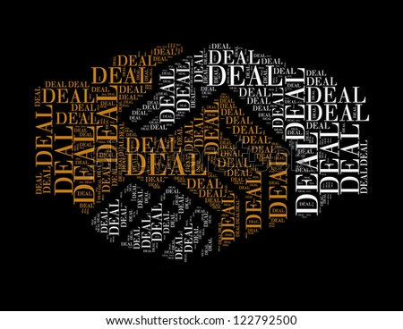 deal text collage Composed in the shape of handshake - stock photo