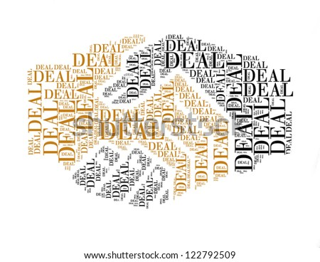 deal text collage Composed in the shape of handshake an isolated on white