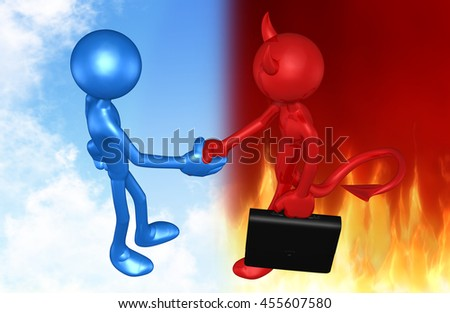 Deal With The Devil 3D Illustration - stock photo