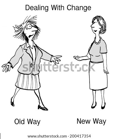 Dealing with Change:  Old Way, New Way - stock photo