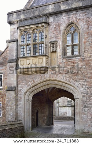 Deanery Gatehouse & Vicar's Dinning Hall at south end of Vicar's Close Wells Cathedral