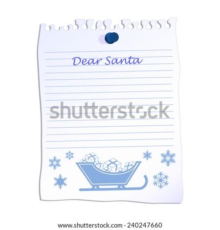 Dear Santa christmas list on line paper  - stock photo