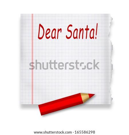Dear Santa, letter on paper - stock photo