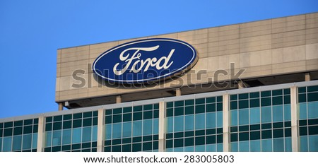 DEARBORN, MI - DECEMBER 21:  Ford, whose headquarters logo in Dearborn is shown on December 21, 2014, had revenues of over US$140 billion in 2014.