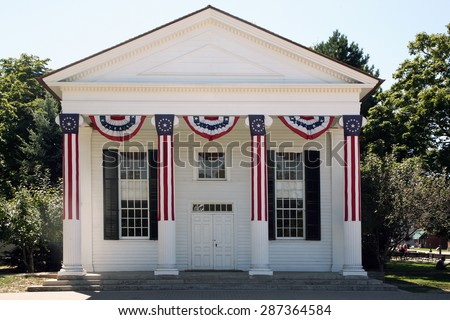 DEARBORN, MI-MAY, 2015:  Generic Town Hall building at Greenfield Village.  Typical of many small town halls in the northeast and built in the latter part of the 18th century. - stock photo