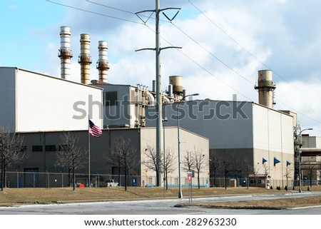 DEARBORN, MI-MAY, 2015:  Power generating plant at the Ford Motor Company's Rouge industrial complex.