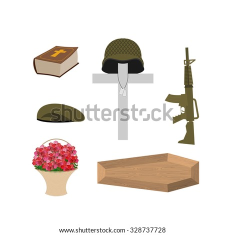 Death of a military veteran. Soldier funeral Accessories: machine gun and soldiers badge. Cross, coffin and Bible. Big basket of red roses. Set of grief  of Memorial Day - stock photo