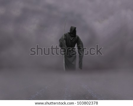 death on the road apocalypse concept - stock photo