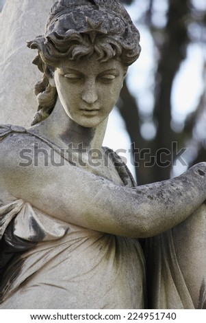 Death statue as a symbol of eternity and immortality of the soul in the Christian religion - stock photo
