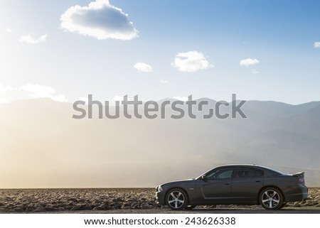 Death Valley, California, USA - December 25, 2014: Dodge Charger on the desert.