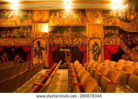 DEATH VALLEY JUNCTION, USA - May 22, 2015: inside the beautiful Amargosa Opera House painted by Martha Becket over years and still operated by her