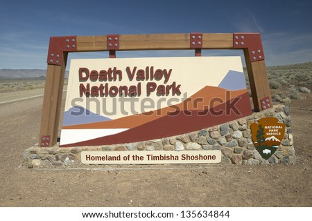 Death Valley National Park sign in California - stock photo