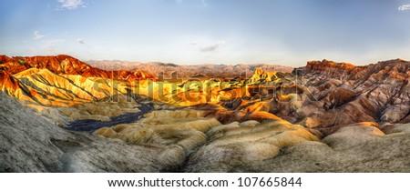 Death Valley, Sunrise on Zabriskie Point - stock photo