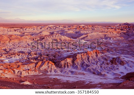 Death valley - Valle de Muerte in Atacama desert. Chile. - stock photo