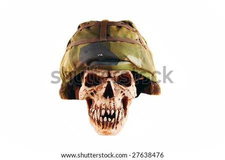deathskull whit a soldier helmet, isolated on white
