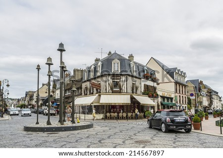 DEAUVILLE, FRANCE - JULY 18, 2012: City view of Deauville. Deauville is a commune in Calvados department in the Basse-Normandie region in northwestern France near the Channel.