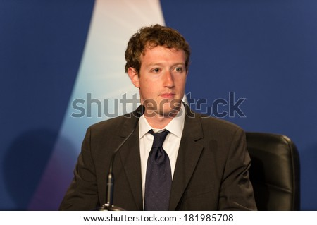 DEAUVILLE, FRANCE - MAY 26, 2011 : Facebook CEO Mark Zuckerberg Press conference at the summit G8/G20 about new technologies  - Deauville, France on May 26 2011 - stock photo