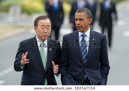 DEAUVILLE, FRANCE - MAY 27, 2011 : President of United State Barack Obama and  Secretary-General of the United Nations Ban Ki-Moon at the summit G8/G20 - Deauville, France on May 27 2011 - stock photo