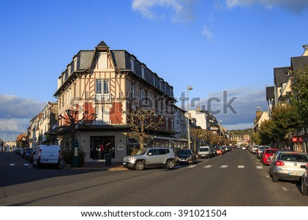 Deauville, France - October  9, 2015: Old street in the city of Deauville, Normandy - stock photo