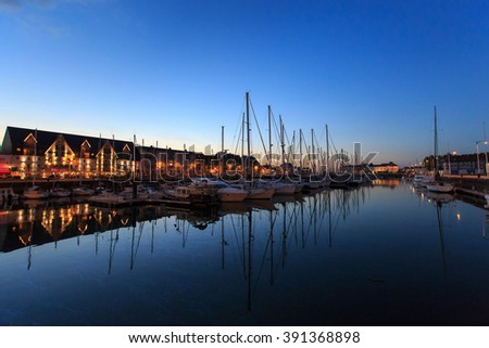Deauville, France - October  9, 2015: Pier for yachts in Deauville, France, Normandy - stock photo