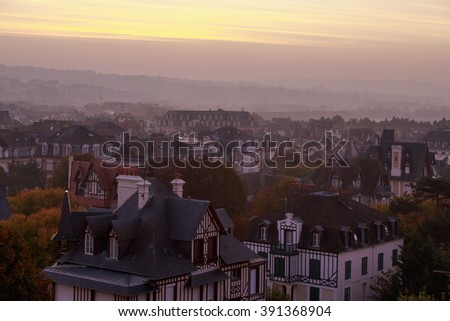 Deauville, France - October  10, 2015:  Roof villa in Deauville, Normandy, France - stock photo