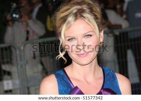 DEAUVILLE, FRANCE - SEPTEMBER 07: US actress Kirsten Dunst arrives at the premiere for Elizabethtown at the 31st Deauville Festival Of American Film on September 7, 2005 in Deauville, France. - stock photo