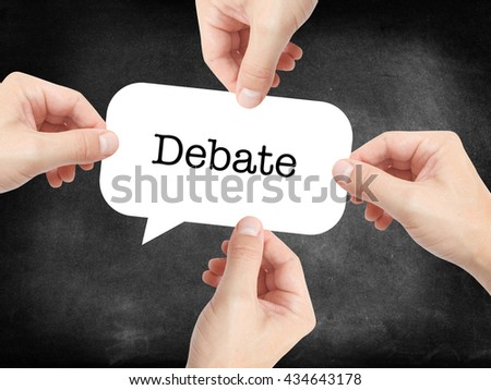 Debate written on a speechbubble