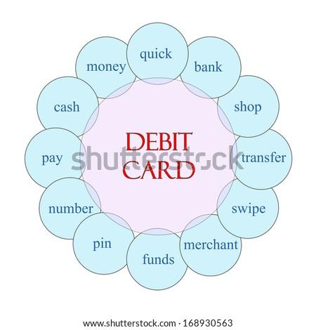 Debit Card Concept Circular Diagram Pink Stock Illustration