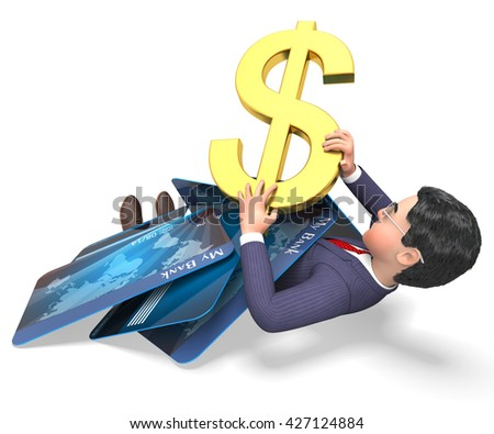 Debit Card Indicating Credit Cards And Problem 3d Rendering - stock photo