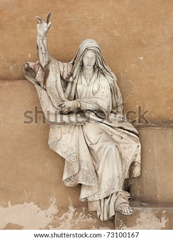 Deborah calls people to fight against oppressors. Marble high relief by sculptor A.V.Loganovsky created in 1847-49. Preserved part of the original Christ the Saviour Cathedral blown up in 1931. - stock photo