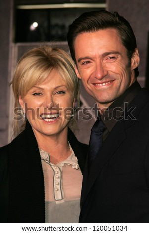 "Deborra-Lee Furness and Hugh Jackman at the World Premiere of ""The Prestige"". El Capitan Theater, Hollywood, CA. 10-17-06 - stock photo"