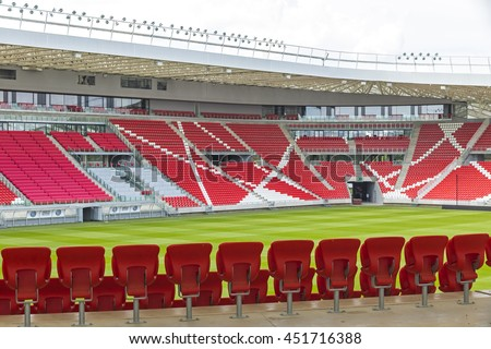 DEBRECEN, HUNGARY - JULY 1, 2016: Nagyerdei Stadion in Debrecen city, home stadium to Debreceni Vasutas Football Club. With capacity of 20340, Nagyerdei stadion has the 3rd largest capacity in Hungary