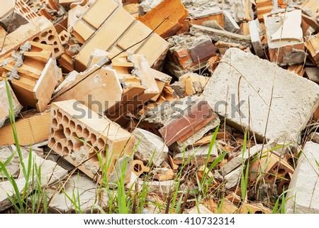 debris, construction garbage, rubbish dump. Close up - stock photo