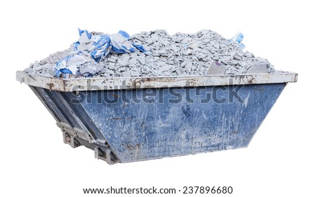 debris on a container isolated on a white background - stock photo