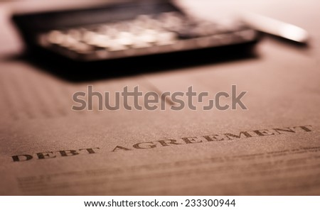 Debt agreement - stock photo