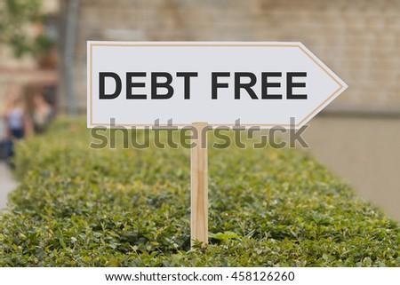 debt free signpost - stock photo