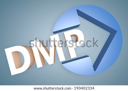 Debt Management Plan - acronym 3d render illustration concept with a arrow in a circle on blue-grey background