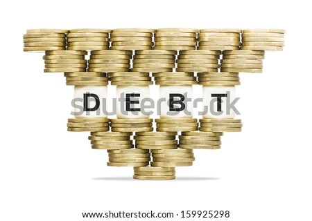 Debt Management Word DEBT on Unstable Stack of Gold Coins - stock photo
