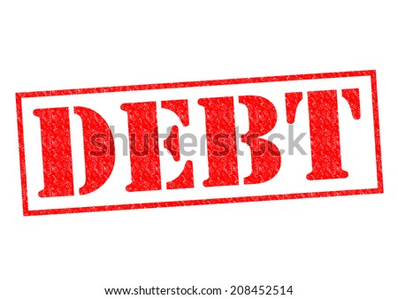DEBT red Rubber Stamp over a white background.