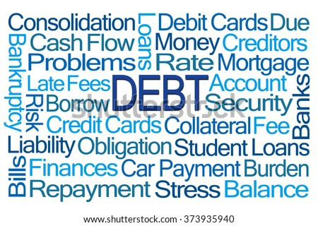 Debt Word Cloud on White Background - stock photo