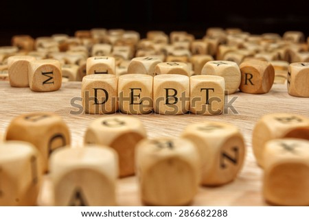 DEBT word concept - stock photo
